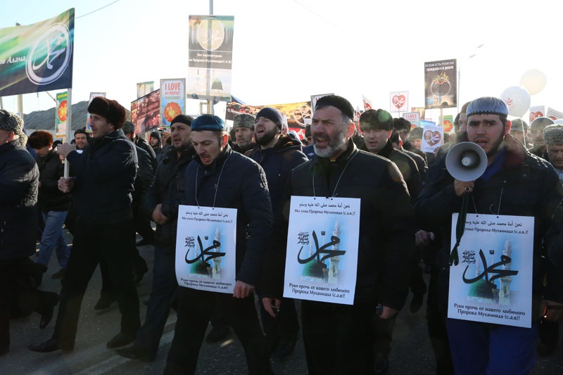 Митинг-протест против тех, кто оскорбляет Пророка Мухаммада (а.с.в.)